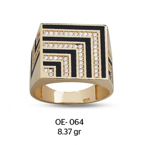 Çeyrek Kareler Altın Erkek Yüzüğü