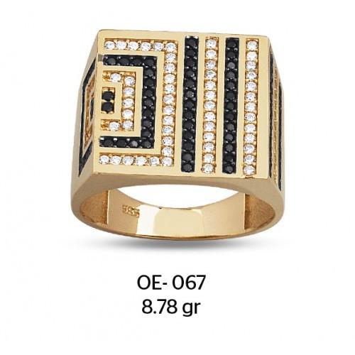 Büyük Kareler Altın Erkek Yüzüğü