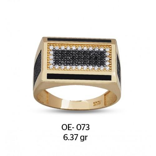 Yatay Dikdörtgen Altın Erkek Yüzüğü
