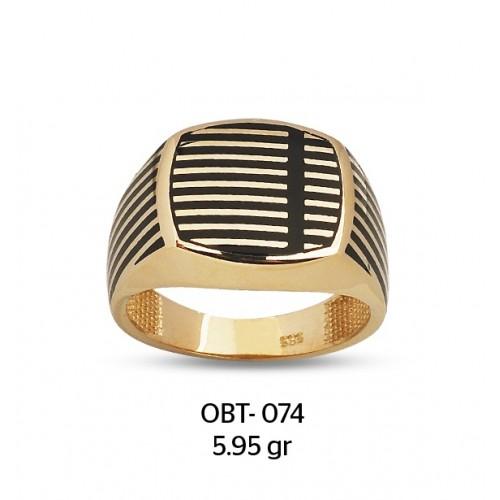 Izgara Desenli Altın Erkek Yüzüğü