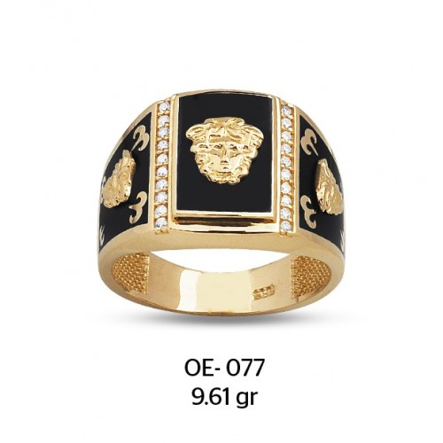 Üç Medusa Yüzlü Altın Erkek Yüzüğü