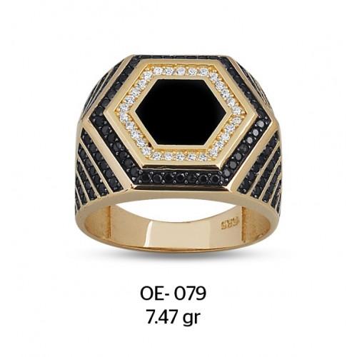 Altıgen Parçalı Altın Erkek Yüzüğü