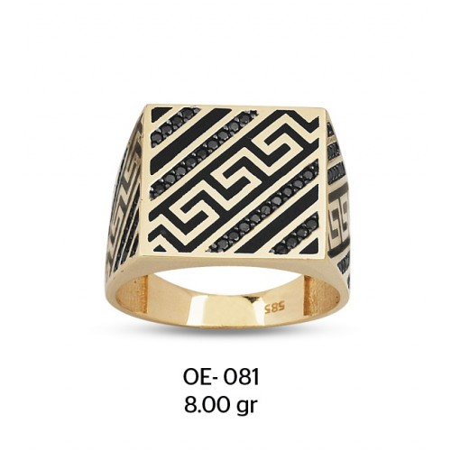 Antik Motifli Altın Erkek Yüzüğü