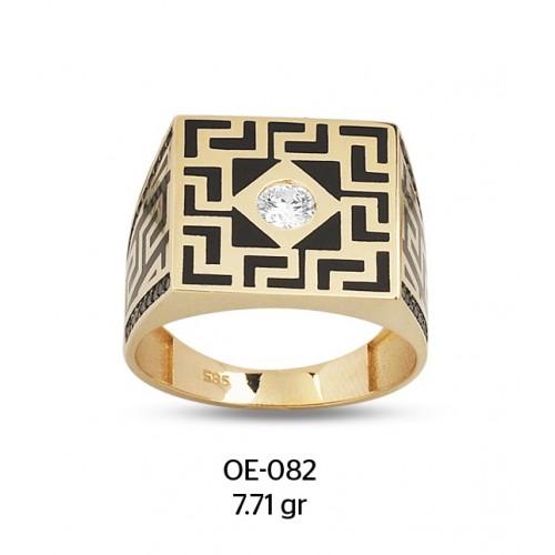 Tek Taşlı Antik Motifli Altın Erkek Yüzüğü