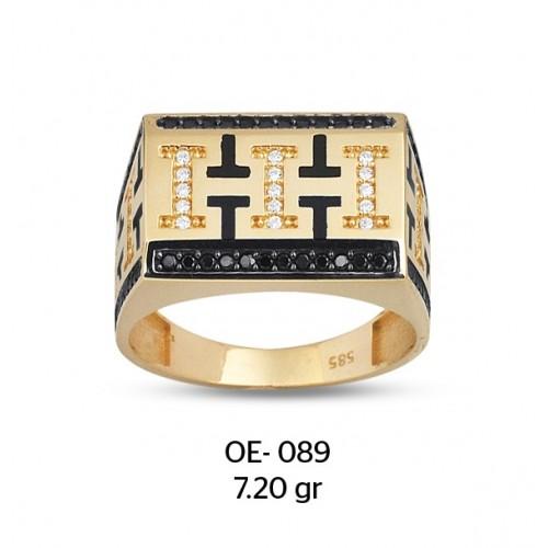 Taşlı III Motifli Altın Erkek Yüzüğü