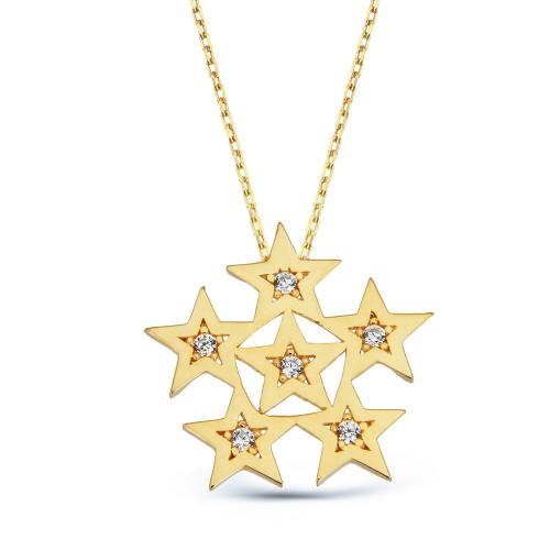 Yıldız Parçalı Kar Tanesi Altın Kolye
