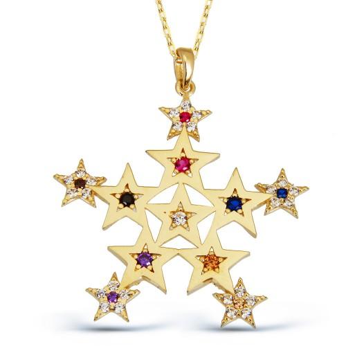 Renkli Taşlı Yıldız Kolye-Altın