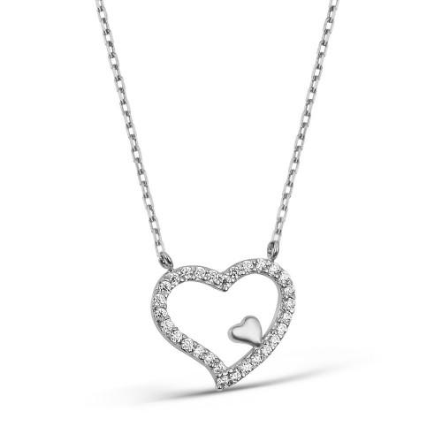 İç İçe Kalpler Gümüş Kolye