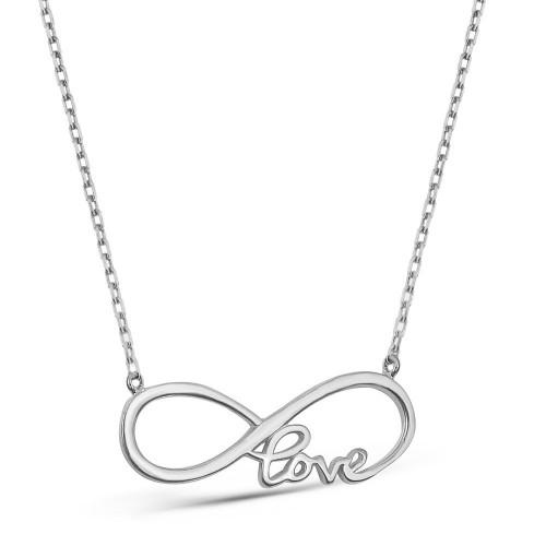 Beyaz Altın Love Yazılı Sonsuzluk Aşk Kolyesi