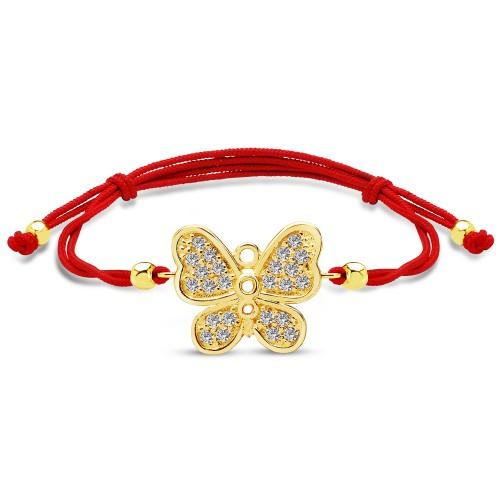Kelebek Figürlü Kırmızı İpli Bileklik