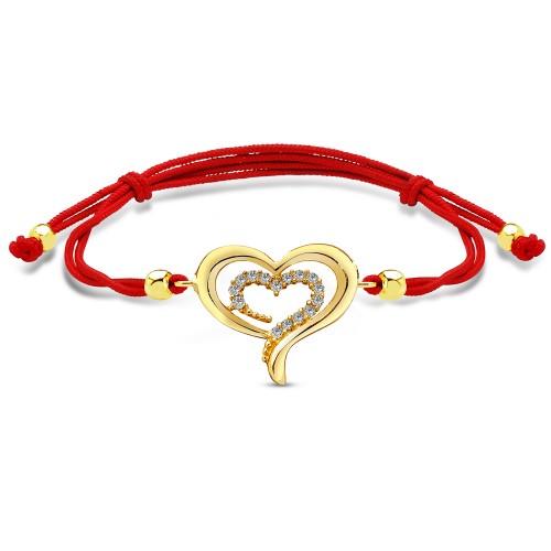 Kalp Figürlü Kırmızı İpli Bileklik