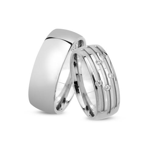 Oluklu Model Gümüş Alyans Seti