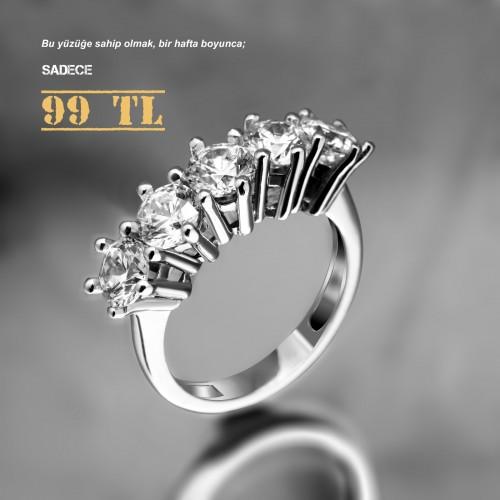 1,50 Karat 6 Tırnak Beştaş Alyans Gümüş Yüzük