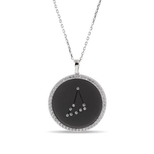 Oğlak Burcu Yıldız Haritası Gümüş Kolye - 18 Ayar Siyah Rodyum Kaplama