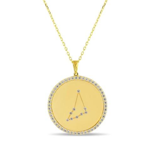 Oğlak Burcu Yıldız Haritası Gümüş Kolye - 18 Ayar Yeşil Altın Kaplama