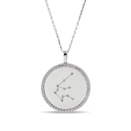 Kova Burcu Yıldız Haritası Gümüş Kolye - 18 Ayar Rodyum Kaplama