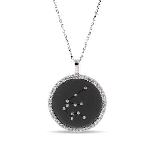 Kova Burcu Yıldız Haritası Gümüş Kolye - 18 Ayar Siyah Rodyum Kaplama