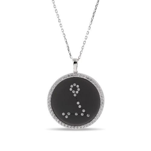 Balık Burcu Yıldız Haritası Gümüş Kolye - 18 Ayar Siyah Rodyum Kaplama