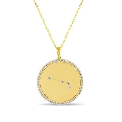 Koç Burcu Yıldız Haritası Gümüş Kolye - 18 Ayar Yeşil Altın Kaplama