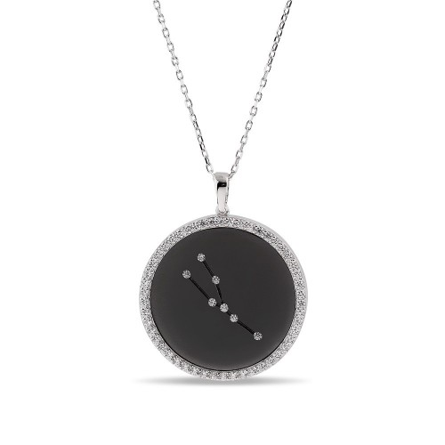 Boğa Burcu Yıldız Haritası Gümüş Kolye - 18 Ayar Siyah Rodyum Kaplama