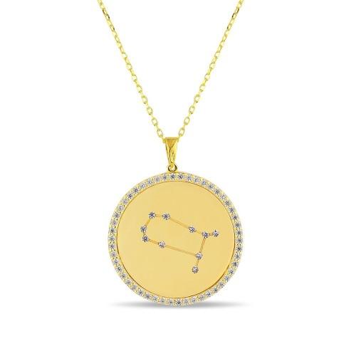 İkizler Burcu Yıldız Haritası Gümüş Kolye - 18 Ayar Yeşil Altın Kaplama