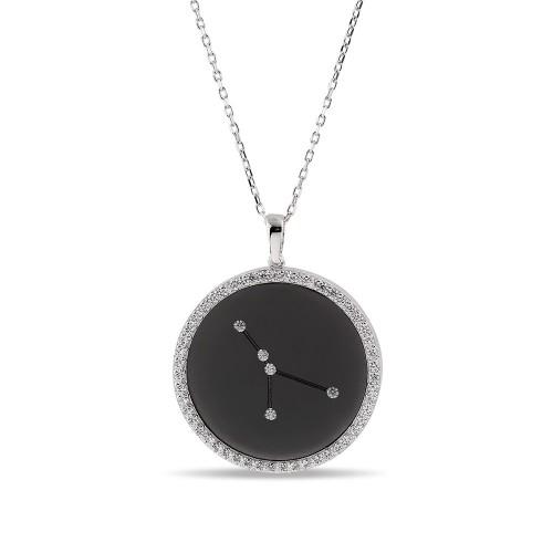 Yengeç Burcu Yıldız Haritası Gümüş Kolye - 18 Ayar Siyah Rodyum Kaplama