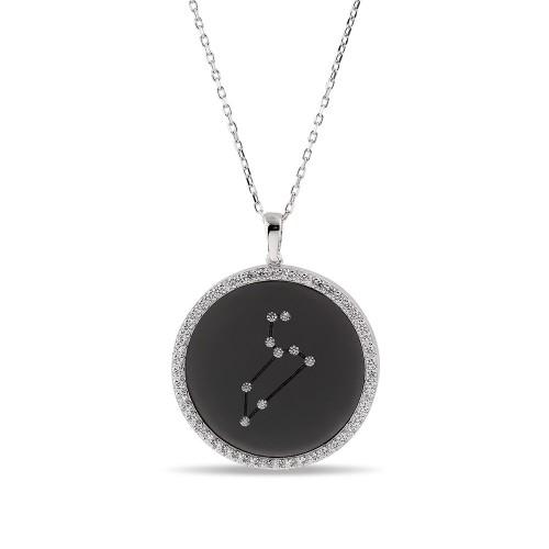 Aslan Burcu Yıldız Haritası Gümüş Kolye - 18 Ayar Siyah Rodyum Kaplama