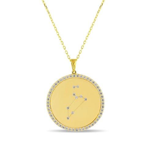 Aslan Burcu Yıldız Haritası Gümüş Kolye - 18 Ayar Yeşil Altın Kaplama