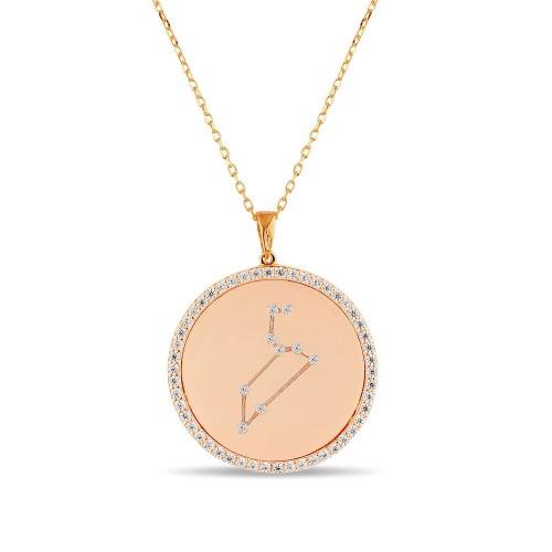 Aslan Burcu Yıldız Haritası Gümüş Kolye - 18 Ayar Rose Altın Kaplama