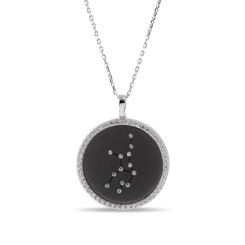 Başak Burcu Yıldız Haritası Gümüş Kolye - 18 Ayar Siyah Rodyum Kaplama