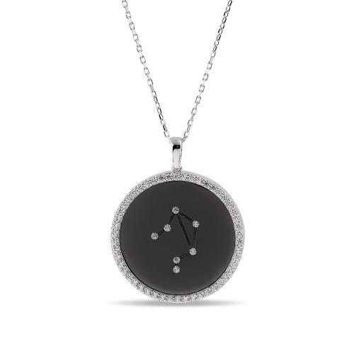 Terazi Burcu Yıldız Haritası Gümüş Kolye - 18 Ayar Siyah Rodyum Kaplama