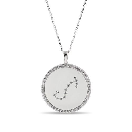 Akrep Burcu Yıldız Haritası Gümüş Kolye - 18 Ayar Rodyum Kaplama
