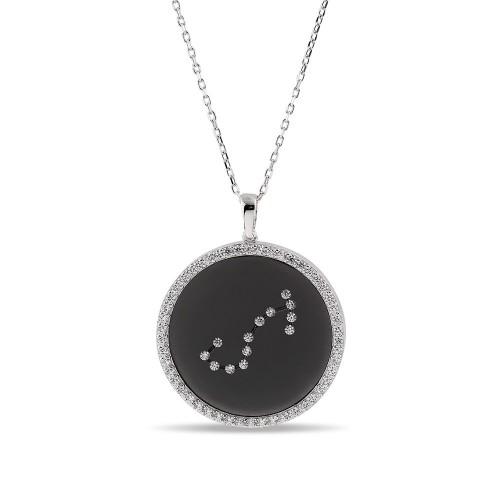 Akrep Burcu Yıldız Haritası Gümüş Kolye - 18 Ayar Siyah Rodyum Kaplama