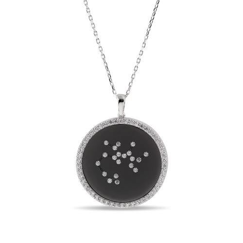 Yay Burcu Yıldız Haritası Gümüş Kolye - 18 Ayar Siyah Rodyum Kaplama