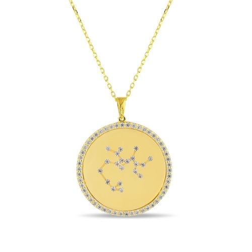 Yay Burcu Yıldız Haritası Gümüş Kolye - 18 Ayar Yeşil Altın Kaplama