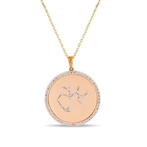 Yay Burcu Yıldız Haritası Gümüş Kolye - 18 Ayar Rose Altın Kaplama