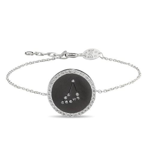 Oğlak Burcu Yıldız Haritası Gümüş Bileklik - 18 Ayar Siyah Rodyum Kaplama