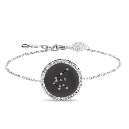Kova Burcu Yıldız Haritası Gümüş Bileklik - 18 Ayar Siyah Rodyum Kaplama