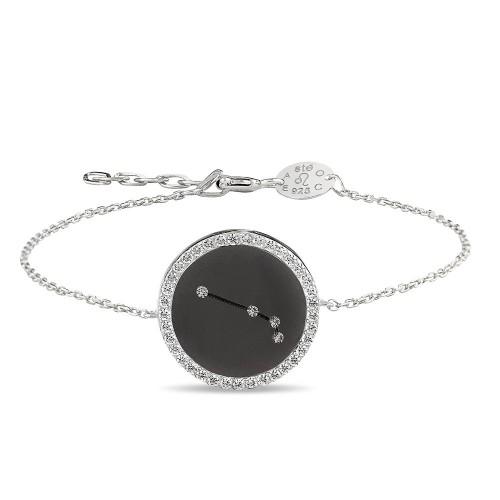 Koç Burcu Yıldız Haritası Gümüş Bileklik - 18 Ayar Siyah Rodyum Kaplama