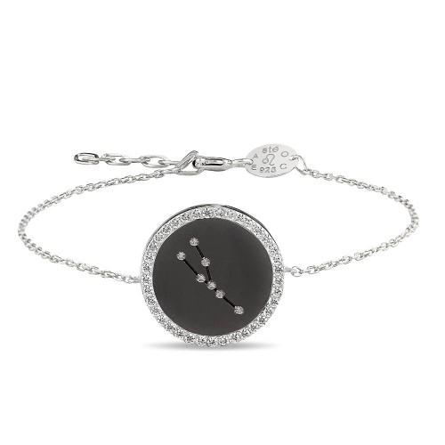 Boğa Burcu Yıldız Haritası Gümüş Bileklik - 18 Ayar Siyah Rodyum Kaplama