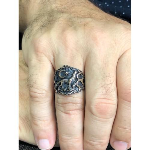 Bronz Bozkurt Erkek Yüzüğü