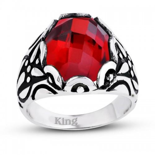 Kırmızı Lal Taşlı Fasetli Oval Kesim Gümüş Erkek Yüzük