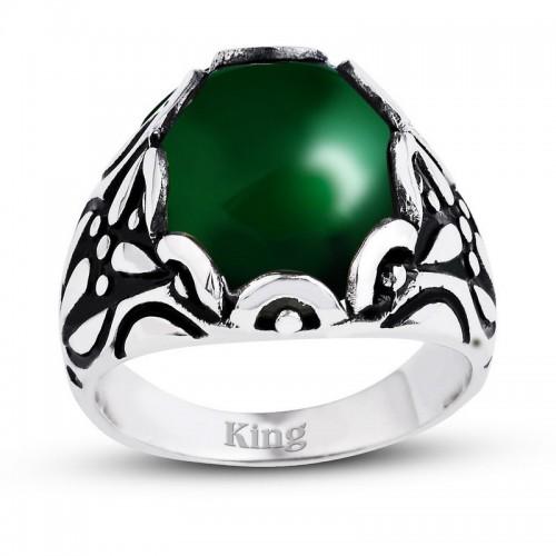 Yeşil Akik  Renkli Kapuşon Kesim Taşlı Gümüş Erkek Yüzük