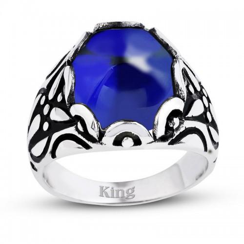 Mavi Renkli Kapuşon Kesim Taşlı Gümüş Erkek Yüzük