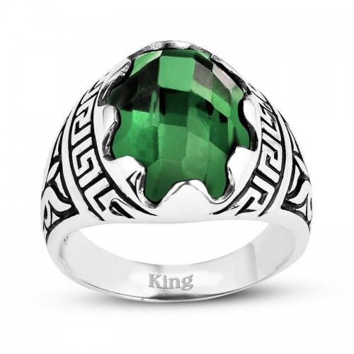 Grek Motifli Gümüş Erkek Yüzük-Fasetli  Kesim Yeşil