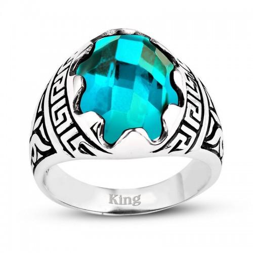 Grek Motifli Gümüş Erkek Yüzük-Gök Mavi