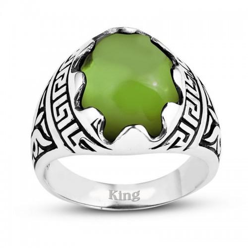 Grek Motifli Gümüş Erkek Yüzük-Yeşil
