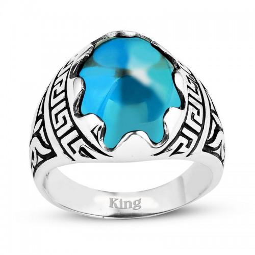 Grek Motifli Gümüş Erkek Yüzük-Gök Mavisi