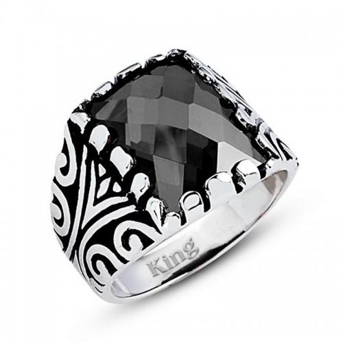 Motifli Gümüş Erkek Yüzük-Siyah Renk taşlı