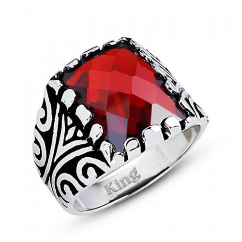 Motifli Gümüş Erkek Yüzük-Kırmızı Renk Taş